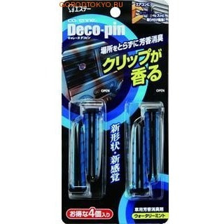 """ST """"DECO-PIN"""" Автомобильный дезодорант-ароматизатор для кондиционера с ароматом освежающей мяты, 2х2 шт."""