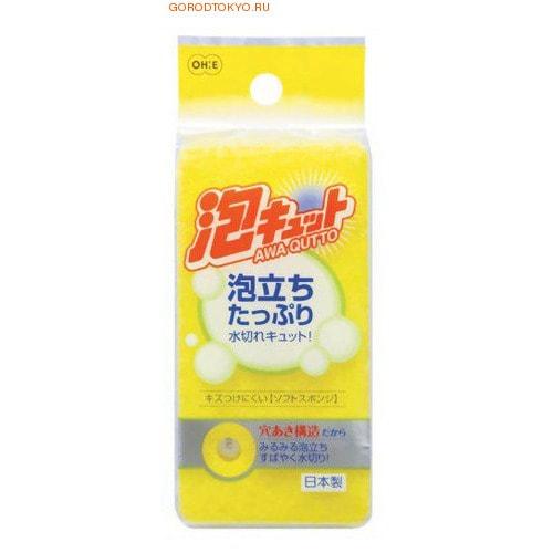 """Ohe Corporation """"Awa Qutto Soft Sponge"""" Губка для мытья посуды (трехслойная, верхний слой средней жесткости)."""