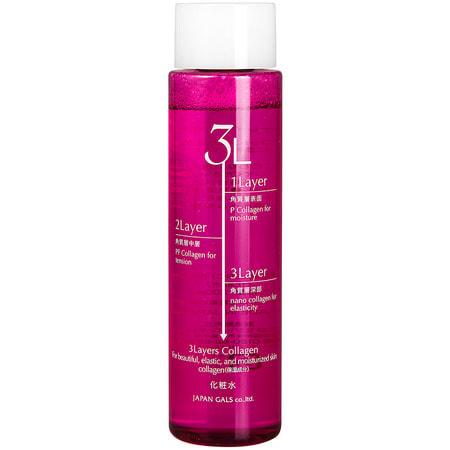"""JAPAN GALS """"3 Layers Collagen"""" Увлажняющий и подтягивающий лосьон для лица с трехслойным коллагеном, 200 мл."""