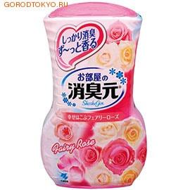 KOBAYASHI Oheyano Shoshugen Жидкий дезодорант для комнаты с ароматом розы, 400 мл.Для комнаты<br>Освежитель нейтрализует все неприятные запахи в комнате и, благодаря большому объему, надолго наполняет комнату приятным ароматом морской свежести. Эффективно устраняет запахи табака, животных и т.п. Предназначен для использования в жилых помещениях. Бумажный фильтр позволяет регулировать интенсивность действия освежителя. Способ использования: снимите внешнюю защитную пленку по линии отрыва. Снимите верхнюю крышку. Поверните внутреннюю крышку по стрелочкам влево, а затем аккуратно поднимите ее, чтобы была видна фильтрованная бумага. Установите верхнюю крышку. Интенсивность освежителя можно регулировать высотой фильтрованной бумаги.В зависимости от условия помещений, освежитель действует в течение 1,5-3 месяцев.Состав: экстракты растений, амфолитные ПАВ-деодорант, отдушка, ПАВ (неионогенные, анионные), краситель.<br>