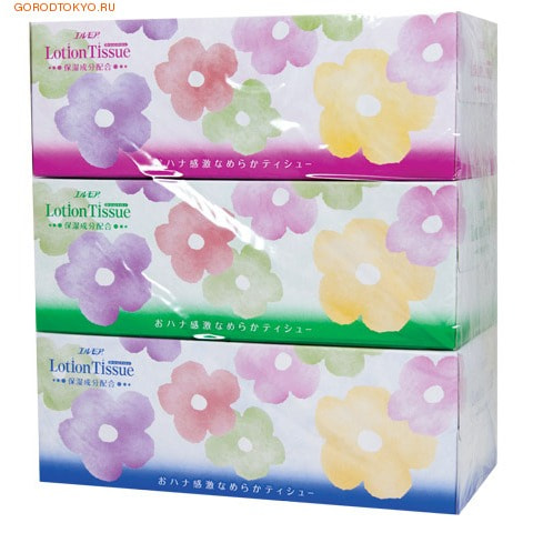 """Kami Shodji """"ELLEMOI - Lotion Tissue"""" Бумажные двухслойные гигиенические салфетки c экстрактом малины, 3 пачки по 200 шт."""