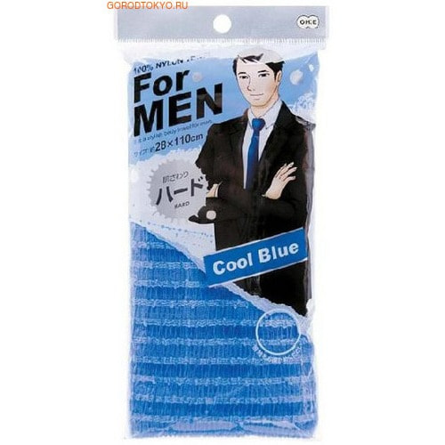 Фото Ohe Corporation Мочалка массажная жесткая для мужчин, голубая, 28 см.на 120 см.. Купить с доставкой
