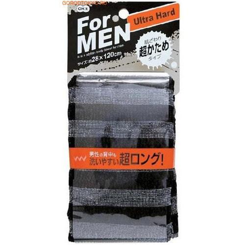 Ohe Corporation Мочалка массажная сверхжесткая для мужчин, чёрная, 28 см. на 120 см.