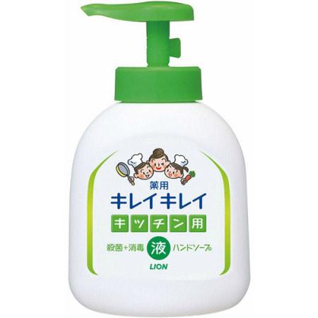 LION Kireikirei Жидкое антибактериальное мыло для рук с апельсиновым маслом - для применения на кухне, 250 мл.Жидкое мыло для рук<br>Жидкое мыло для рук с антибактериальным и дезинфицирующим эффектом образует густую и легкую пену, быстро удаляющую загрязнения.  Содержит масло розмарина, которое способствует увлажнению и восстановлению кожи рук.  Данное средство хорошо удаляет с кожи рук жир, запах рыбы. <br>  Способ применения: при нажатии крышки насоса выходит разовая доза мыла (около 1 гр.).  Распределите мыло по поверхности рук, после чего тщательно промойте их. <br>  Состав: изопропилметилфенол, пропиленгликоль, лауриновая кислота, гидроокись калия, миристиновая кислота, стеарил эфир с эфирными маслами, лаурилдиметил бетаин, ароматизаторы, эмульсия полистирола, этилендиаминтетрауксусная кислота, соль бензойной кислоты, красный.<br>