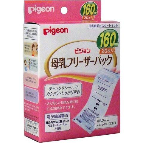 PIGEON-ЯПОНИЯ Пакеты для заморозки грудного молока, 160 мл., 20 шт.Для кормящих мам<br>Предназначены для замораживания и хранения грудного молока.  С помощью пакетиков можно гигиенично хранить грудное молоко. Поскольку во время наливания молока в пакетик верхняя часть пакетика, до которой Вы дотрагиваетесь рукой, отрезается, молоко может храниться в пакетике в стерильном состоянии.  Для переливания молока в бутылочку необходимо отрезать часть снизу пакетика.  Пакетик имеет гигиеничную конструкцию ; молоко наливается в него сверху и выливается снизу. Пакетик имеет многослойное строение, отличающееся прочностью и гигиеничностью (соответствует японским нормам гигиены питания).  Пакетики стерилизованы методом электронно-лучевой стерилизации.  Верхняя часть пакетика имеет выступ, облегчающий открывание пакетика, а широкое отверстие позволяет с легкостью наполнять пакетик молоком.  Форма пакетика позволяет легко удалить из него воздух во время закрывания. Пакетик имеет мерную шкалу, позволяющую легко уточнить количество молока внутри.  После закрывания пакетика его верхняя часть сворачивается и заклеевается фиксирующей наклейкой, что эффективно препятствует выливанию содержимого.  В комплект входят 20 фиксирующих наклеек, на которых можно записать время и количество молока внутри пакетика. Пакетики бывают 3 типов, в зависимости от объема молока, - 40 мл, 80 мл и 160 мл.  Способ использования: Заранее открыв застежку, отрежьте ее верхнюю часть и раскройте пакетик. Не дуйте в пакетик, когда раскрываете его. Раскрыв отверстие пакетика, налейте в него молоко. После удаления из пакетика остатков воздуха, согните его верхнюю часть 3 раза по направлению к застежке и зафиксируйте ее наклейкой. После разморозки отрежьте часть снизу пакетика и перелейте содержимое пакетика в бутылочку. Для разморозки используйте проточную воду или кипяченую воду, температура которой составляет около 40.  Ни в коем случае не размораживайте молоко, используя для этого кипяток или микроволновую печь. 