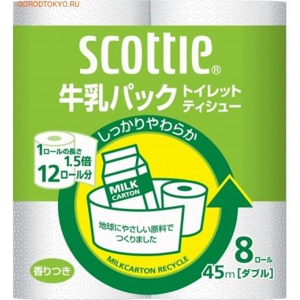 Nippon Paper Crecia Co., Ltd. Туалетная бумага из переработанной целлюлозы, с легким ароматом «Scottie», двухслойная, 8х45 м.Туалетная бумага<br>Туалетная бумага из переработанной целлюлозы мягкая и приятная на ощупь, благодаря современному процессу мультипереработки сырья.  Обладает хорошей впитываемостью, не оставляет ворсинок на теле и не расслаивается, не уступая по своим свойствам бумаге из первичной целлюлозы. <br>  Состав: 100% целлюлоза.<br>