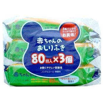 SHOWA SIKO Влажные салфетки для ухода за нежной кожей тела малышей с экстрактом листьев персика 3х80 шт., 12 см. на 20 см.