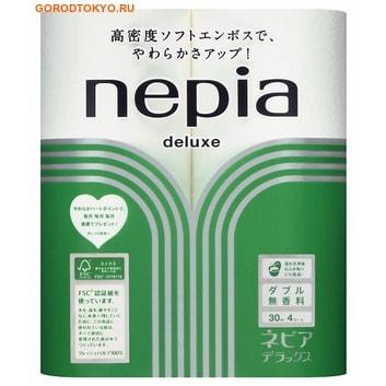 NEPIA Туалетная бумага двухслойная Nepia Deluxe без аромата, 4 рулона по 30 метров.Туалетная бумага<br>Особая мягкость бумаги Nepia Deluxe достигается благодаря  применению уникальной технологии двухстороннего мягкого тиснения.  Не слоится и не оставляет ворса.  Дарит комфорт и свежесть.  Легко отрывается в нужном месте, быстро и без последствий растворяется в воде.  Отлично впитывает влагу, поэтому рекомендуется использовать так же и поcле посещения  биде.  Сертификат FSC СО181118 подтверждает, что компания Oji Nepia является ответственным лесопользователем (использует для производства только возобновляемое лесное сырье со специальных плантаций).  Сертификат Всеяпонской Ассоциации Биопластика №144 подтверждает, что компания Oji Nepia использует для упаковки пластик из биоматериалов (при попадании в природу разлагается на биологические компоненты).  Состав: натуральная 100%-я целлюлоза.<br>