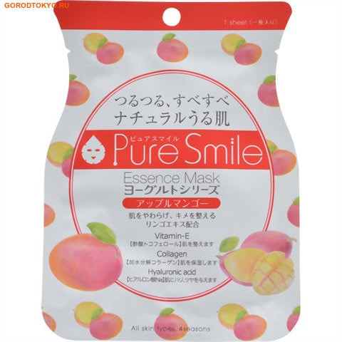 """Sun Smile """"Pure Smile"""" """"Yogurt mask"""" Смягчающая маска-салфетка для лица на йогуртовой основе с экстрактом яблока и манго."""