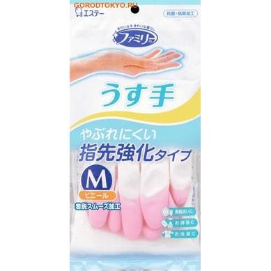 ST Перчатки из винила для бытовых и хозяйственных нужд, с антибактериальным эффектом, тонкие, размер M, розовые.