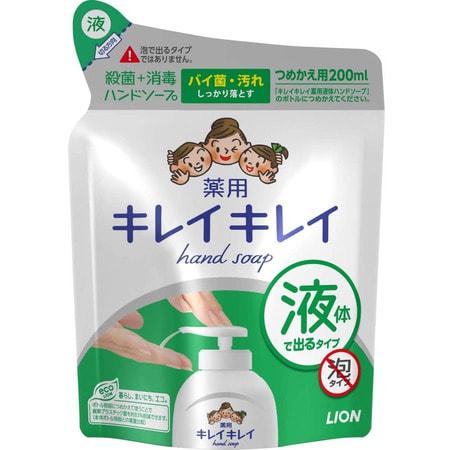 LION Жидкое антибактериальное мыло для рук с ароматом цитрусов KireiKirei, сменная упаковка, 200 мл.Жидкое мыло для рук<br>Пенящееся жидкое мыло с приятным ароматом цитрусов создает обильную пену, которая бережно очищает и ароматизирует кожу рук, оставляя после мытья ощущение свежести и гладкости кожи.  Содержит мягкие, очищающие компоненты, природного происхождения, масло лимона и антибактериальный компонент IPMP с высокими очищающими свойствами. Кроме того, мыло содержитспециальную формулу, защищающую от вируса гриппа.    Состав: тимол, метилфенол, PG, гидроксид калия, лаурик, миристин, стеорил, лаурил диметил бетаин, масло розмарина, этанол амин, ароматизаторы, полистироловая эмульсия, EDTA.<br>