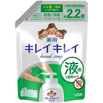 """Lion """"KireiKirei"""" Жидкое антибактериальное мыло для рук с апельсиновым маслом - для применения на кухне, 450 мл., сменная упаковка."""