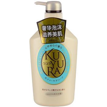 SHISEIDO «Kuyura» Увлажняющее жидкое крем-мыло для тела с ароматом трав, 550 мл.Гели для душа, жидкое крем-мыло<br>Уход за вашим телом при помощи необыкновенно обильной пены с ненавязчивым, расслабляющим ароматом трав.  Увлажняющее крем-мыло предотвращает сухость кожи, поддерживая её в увлажнённом и здоровом состоянии, а также делает кожу мягкой при продолжительном использовании. Превосходно удаляет ненужную ороговевшую кожу и смывает загрязнения, но при этому не лишает кожу необходимой влаги. Моющая основа данного крем-мыла - натуральные аминокислоты, сохраняющие кожу свежей и молодой.  Способ применения: нанести небольшое количество крема на влажную губку или сразу на влажное тело, помассировать и смыть.  Состав: вода, PG, лауриновая кислота, пальмитиновая кислота, миристиновая кислота, гидроксид K, дистеарат этиленгликоля, Лауретсульфат натрия, Na лауроамфоацетат, олеиновую кислоту, поликватерний -39, -7 поликватерний кокоил метил таурином Na, Na полиаспарагиновая кислота, соевое масло, кокамидмоноэтаноламид, стеариновая кислота, гидроксипропилметилцеллюлоза, EDTA-2Na, лимонная кислота, токоферол, BHT, феноксиэтанол, метилпарабен, пропилпарабен, ароматизатор.<br>