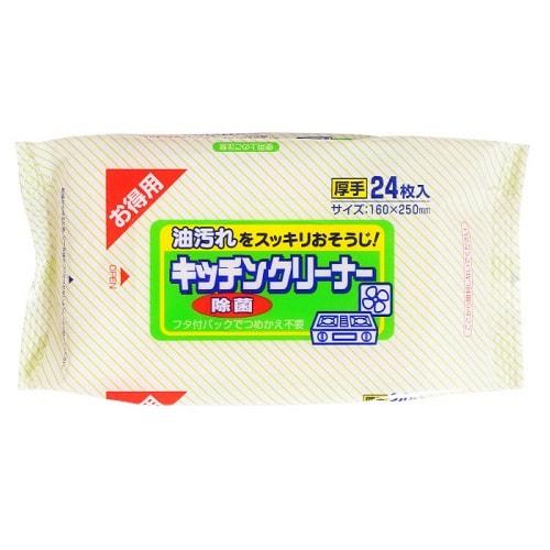 """Showa Siko Влажные салфетки """"Kitchen cleaner"""" для удаления жировых загрязнений на кухне, 24 шт., 16 на 25 см."""