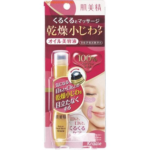 KRACIE Ролик массажный от мелких морщин, для области вокруг глаз и рта, с маслом сквалана, 15 мл.АНТИВОЗРОСТНОЙ УХОД (ОТ З0-ТИ ЛЕТ И СТАРШЕ)<br>Лёгкий массаж области вокруг глаз и рта делает мелкие морщинки менее заметными. 100% сквалановое масло легко и глубоко впитывается в роговой слой кожи, увлажняя её и придавая упругость. Прохладный ролик из нержавеющей стали делает массаж лёгким и приятным. Средство не содержит отдушек и красителей, подходит для ежедневного ухода за кожей.  Состав: сквалан.<br>