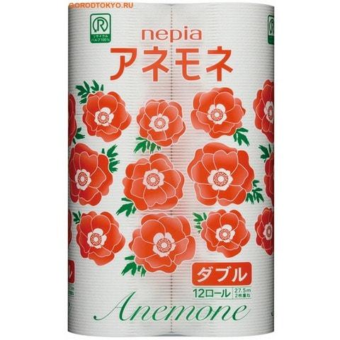 "NEPIA Туалетная бумага двухслойная ""Anemone"", 12 рулонов по 27,5 м."