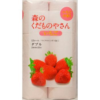 """FUJIEDA """"FUJIEDA SEISHI"""" Туалетная бумага двухслойная, с ароматом клубники, 12 рулонов по 30 метров."""