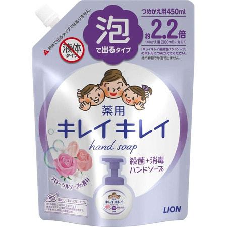 LION Kirei kirei Жидкое пенное мыло для рук с ароматом цветов, сменная упаковка, 450 мл.Жидкое мыло для рук<br>Пенящееся жидкое мыло с приятным ароматом лимона создает обильную пену, которая бережно очищает и ароматизирует кожу рук, оставляя после мытья ощущение свежести и гладкости кожи.  Содержит мягкие, очищающие компоненты, природного происхождения, масло лимона и антибактериальный компонент IPMP с высокими очищающими свойствами.  Состав: тимол, метилфенол, PG, гидроксид калия, лаурик, миристин, стеорил, лаурил диметил бетаин, этанол амин, ароматизаторы, полистироловая эмульсия, EDTA.<br>