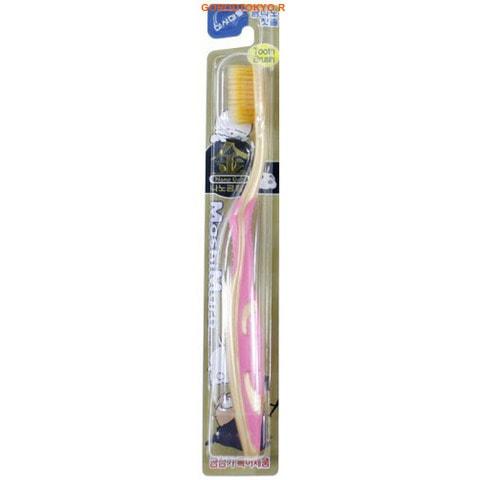 """EQ MAXON """"Nano Gold Toothbrush"""" Зубная щётка c наночастицами золота, сверхтонкой двойной щетиной, средней жёсткости, стандартная чистящая головка (розовая)."""