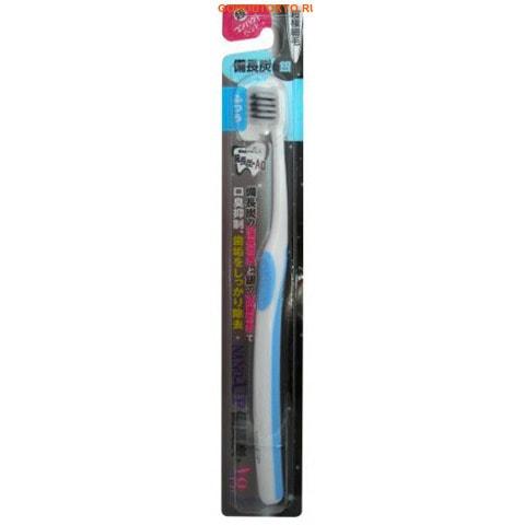 """EQ MAXON """"Ion Charcoal Ag Toothbrush"""" Зубная щётка с древесным углем и ионами серебра, двойной тонкой щетиной, средней жёсткости, суперкомпактная чистящая головка."""