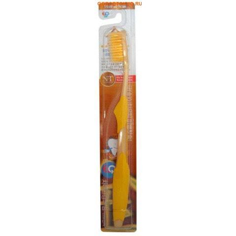 """EQ MAXON """"Nano Gold Toothbrush"""" Зубная щётка c наночастицами золота, сверхтонкой двойной щетиной, средней жёсткости, стандартная чистящая головка, прямая ручка."""