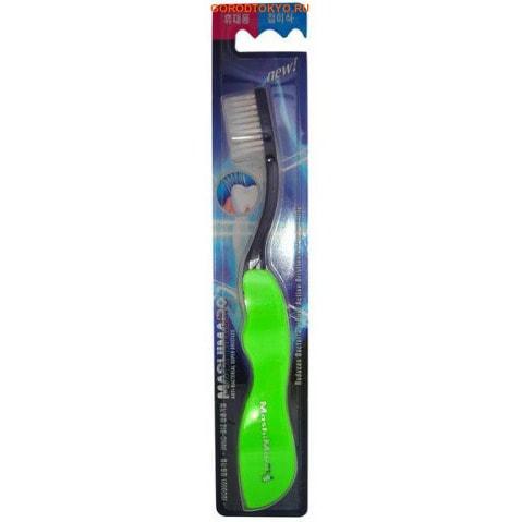 """EQ MAXON """"Travel Toothbrush"""" Зубная щётка со сверхтонкой двойной щетиной, средней жёсткости, складная, стандартная чистящая головка."""