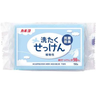 KANEYO «98% жирных кислот» - Хозяйственное мыло с антибактериальным эффектом, для удаления стойких пятен с одежды, брикет 190 гр.
