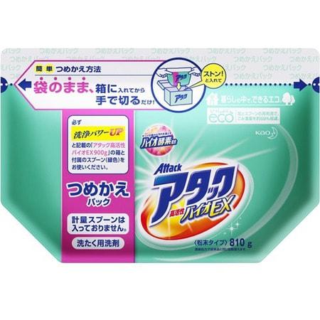 KAO Био - Attack Extra– стиральный порошок с высокой активностью компонентов для светлого белья, сменный блок, 900 гр.Стиральные порошки<br>Безупречно отстирывает в холодной воде, что позволяет носить любимые вещи дольше, снизить время стирки и расход электроэнергии. Проникает глубоко в волокно и вымывает въевшуюся грязь, засаленность и неприятные запахи. Предотвращает тусклость ткани, не оставляет белых разводов. Биоразлагаемый (после стирки ПАВ и энзимы распадаются без ущерба для окружающей среды), не содержит фосфатов и хлора, нежный цветочный аромат <br> Используйте запасной блок, если у вас есть коробка от концентрированного стирального порошка Attack BioEX, 1 кг. 0,9 кг. = 26 стирок = 4 кг. обычного порошка!!! Экономия на стоимости одной стирки! Из биоразлагаемого материала! Уникальная форма, не требующая пересыпания. Мерная ложечка не прилагается.<br>