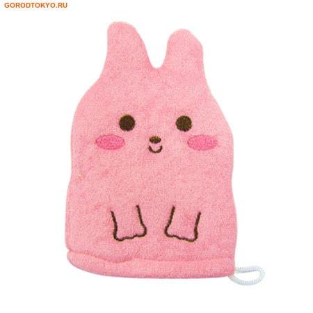 """KOKUBO """"Furocco Kids"""" - Розовый кролик, детская рукавичка для мытья тела."""
