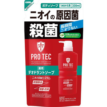 LION Мужское дезодорирующие жидкое мыло для тела с ментолом «PRO TEC», 330 мл., сменная упаковка.