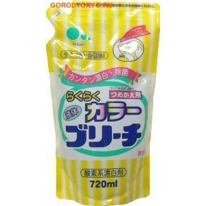 Mitsuei Кислородный отбеливатель для цветных вещей, 720 мл.Удаление стойких загрязнений<br>Средство идеально подходит для цветных вещей и деликатных типов ткани.  Удаляет любые пятна, не повреждая пигмент. Устраняет неприятные запахи. Oбладает антибактериальными свойствами, делая вашу одежду идеально чистой.  Способ применения: при стирке цветных вещей к порошку добавить отбеливатель из расчета: на 1 л воды - 20 мл. (1 колпачок) отбеливателя.  Состав: окисленный водород (кислородная система), ПАВ.<br>