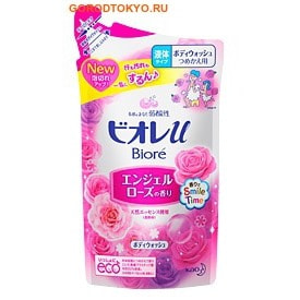 KAO «Biore U - Angel Rose» Гель для душа с нежным ароматом розы, 380 мл, сменная упаковка.