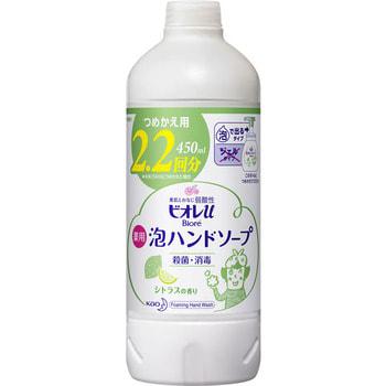 """KAO KAO """"Biore U - Foaming Hand Soap Citrus"""" Мыло-пенка для рук с антибактериальным эффектом, с ароматом сочных цитрусовых фруктов, 450 мл., сменная упаковка."""