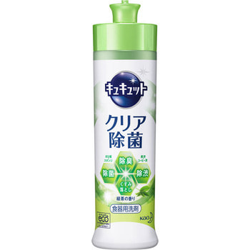 KAO «KyuKyutto» Дезинфицирующее средство с лимонной кислотой для мытья посуды, овощей и фруктов, с ароматом зелёного чая, 250 мл.Для мытья посуды<br>Средство для мытья посуды, овощей и фруктов обладает прекрасной моющей способностью.  Благодаря оригинальной разработке компании KAO, средство легко и быстро отмывает жирную грязь даже с пластиковой посуды: жир обволакивается, разбивается на множество мелких частей и мгновенно удаляется,  достаточно один раз провести губкой по жирной поверхности.  Средство содержит лимонную кислоту - природный безвредный компонент, который отбеливает, устраняет запахи и дезинфицирует любые поверхности.  Средство не оставляет химикатов на посуде.  Средство создано только на растительной и минеральной основе, не содержит нефтепродуктов.  Обладает приятным ароматом зеленого чая.  Состав: поверхностно-активные вещества (37 % полиоксиалкиленовый эфир сульфата натрия, алкилгликозид, аксил сульфобетаина, оксид алкил амина, алкилглицерил эфир, алкенилсукцинат, полиоксиэтиленалкилэфир), стабилизаторы (этиловый спирт, толуолсульфонат, полипропиленглиголь, пропиленглиголь, хлорид магния, полиоксиэтиленфенил эфир, сульфат натрия), цитрат (дезинфицирующее средство), аромат, краситель.<br>