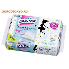 KAO «Quick Le Toilet» Дезодорирующие салфетки для уборки туалета, с ароматом мяты, плотные, растворимые в воде, 31х24,5 см, сменная упаковка, 20 шт.