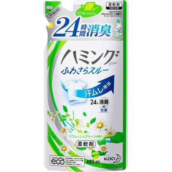 KAO «Hamming Fine refresh Green» Кондиционер дл бель с защитой от возникновени непритного запаха, с ароматом свежесобранных трав, 480 мл, сменна упаковка.Кондиционеры дл бель<br>Кондиционер дл бель с защитой от непритного запаха на 24 часа! Специальный компонент уничтожает запах и микробы во врем носки или сушки в помещении.  Природные смгчители придат бель неверотну мгкость и воздушность.  Предотвращает повление складок, облегчает глажку, имеет антистатический ффект.  Расслаблщий аромат свежесобранных трав (с добавлением натурального масла ромашки).  Назначение: подходит дл смгчени хлопка, шерсти, шелка и синтетических тканей.   Норма расхода: 7 мл на 1 кг бель.  Состав: ПАВ (стер диалкиламмониева соль, полиокситилен алкил фир, жирные кислоты), стабилизаторы, ароматизатор, масло ромашки.<br>