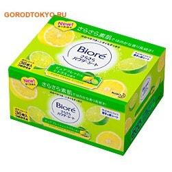 KAO Biore Освежающие и дезодорирующие салфетки для тела с прозрачной шёлковой пудрой, чистый цитрусовый аромат, сменная упаковка, 36 шт.