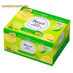 KAO «Biore» Дезодорант-салфетки для тела с прозрачной шёлковой пудрой, чистый цитрусовый аромат, сменная упаковка, 36 шт.