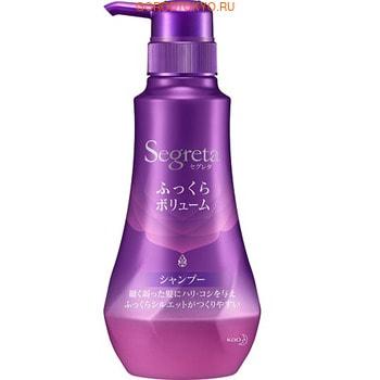 KAO «SEGRETTA Volume Aromatic Floral shampoo» Шампунь для увеличения прикорневого объёма волос, с экстрактом граната и маточным молочком, 360 мл.АНТИВОЗРАСТ<br>Этот шампунь подарит Вашим волосам прикорневой объём, блеск и жизненную силу! Профилактика выпадения, потери объема и истончения волос. Шампунь для глубокого питания и интенсивного восстановления поврежденных, ослабленных волос после окрашивания, химической завивки и частых укладок. Воздействует на волосы на клеточном уровне, возвращает им естественный блеск, увлажняет кожу головы и питает волосы по всей длине.  Борется с истончением волос и потерей объема с помощью растительных экстрактов:  <br><br>Экстракт пчелиного маточного молочка питает и увлажняет волосы.<br>Экстракт эвкалипта увлажняет кожу головы и укрепляет волосяные фолликулы.<br>Экстракт тысячелистника японского стимулирует рост новых волос. <br>Экстракт граната дарит волосам блеск и сияние.<br>Экстракт королевской розы увлажняет волосы, оказывает омолаживающее действие.<br><br>Способ применения: нанести шампунь на влажные волосы, вспенить и тщательно смыть.  При необходимости процедуру повторить.   Состав: экстракт граната, экстракт эвкалипта, экстракт королевской розы, экстракт пчелиного маточного молочка, кстракт тысячелистника японского, яблочная кислота, вода, аммоний лаурилсульфат, лаурамидипропил бетаин, лаурилполиоксиэтиленсульфат-6 карбоновых кислот, спирт, гликоль дистеарат, лаурилполиоксиэтиленсульфат-16, толуол-сульфоновой кислоты, кокамид, диметикон, сульфат натрия лаурет, поликватерниум-10, бензиловый спирт, лаурет-4, по-ликватерниум-52, феноксиэтанол, стероксипромил ди-метиламин, стеариловый спирт, гидроксид калия, бути-ленгликоль, бензоат натрия, бензофенон-3, натрия гидроксид.<br>