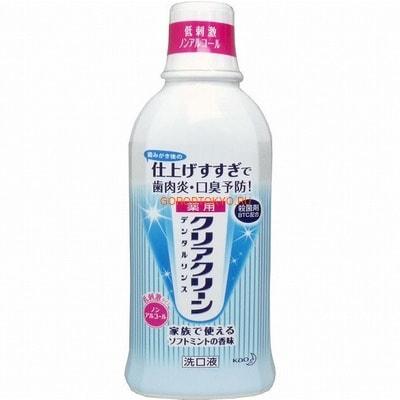 KAO «Clear Clean» Освежающий ополаскиватель для полости рта против зубного налёта и для профилактики гингивита, мягкий мятный вкус, 600 мл.