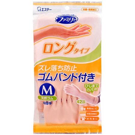 """ST """"Family"""" Перчатки из каучука для бытовых и хозяйственных нужд (с антибактериальным эффектом, средней толщины), размер М, нежно-розовые. (фото)"""