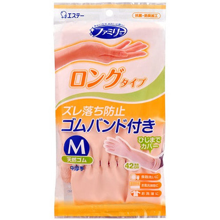 """ST """"Family"""" Перчатки из каучука для бытовых и хозяйственных нужд (с антибактериальным эффектом, средней толщины), размер М, нежно-розовые."""