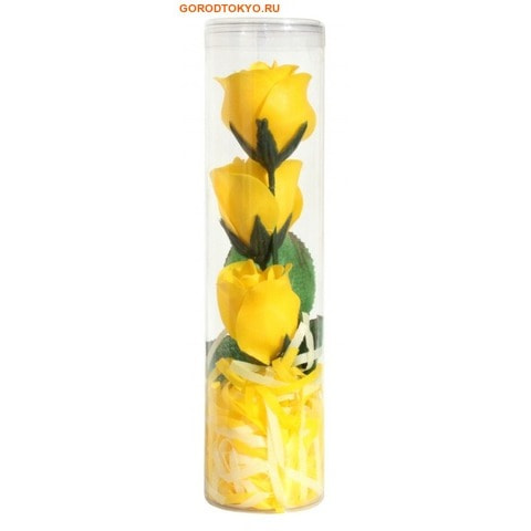 """KUMO Мыло лепестковое туалетное цветочное """"KUMO - Роза"""" в пластиковой тубе, жёлтые бутоны."""