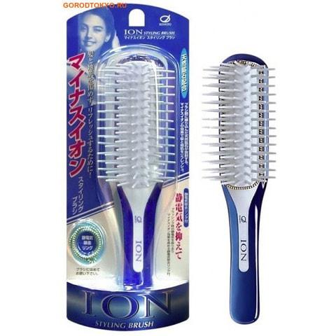 IKEMOTO Щётка для укладки волос, с ионами.УКЛАДОЧНЫЕ СРЕДСТВА<br>Щётка для укладки подходит для ежедневного ухода за ослабленными волосами, потерявшими жизненную силу и естественный блеск.  Поток воздуха, проходя через щётку во время укладки, образует поток ионов.  Отрицательно заряженные ионы, выделяемые из содержащихся в зубчиках мельчайших природных частиц минерала турмалина, способствуют восстановлению структуры кутикулы волоса и оздоровлению кожи головы.  Оказывает укрепляющее воздействие на корни волос и стимулирует их рост.  В комплекте есть резиночка для волос.  Она изготовлена из волокна, которое предотвращает образование статического электричества.<br>