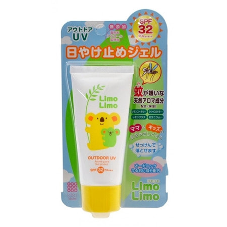 MEISHOKU Limo Limo Outdoor UV SPF 32 PA +++ Солнцезащитный гель для всей семьи, SPF 32 PA +++, 50 гр.Защита от солнца и насекомых<br>Гель для всей семьи имеет два свойства - защита от УФ-лучей и от насекомых на открытом воздухе.  Увлажняет кожу, легко наносится, не создает липкую пленку.  Прекрасно подходит для отдыха на природе.  Содержит увлажняющие компоненты (экстракты листьев розмарина, жожоба, ромашки аптечной, шалфея лекарственного) и растительные компоненты с естественным запахом, отпугивающим насекомых (эвкалипт лимонный, лемонграсс, цитронелла, герань).  Нежная защита кожи для всей семьи!  Средство на водной основе, смывается обычным мылом или гелем для душа.  Не содержит красителей, спирта, минеральных масел.  Обладает ароматом зеленых цитрусов.    Способ применения: равномерно нанесите необходимое количество геля на кожу лица и тела.  Гель обладает солнцезащитным эффектом, поэтому рекомендуется при необходимости наносить его повторно.  Для удаления средства используйте обычное мыло или гель для душа.    Состав: вода, этилгексилметоксициннамат, дипропиленгликоль, изостеарилизостеарат, циклопентасилоксан, метилглюцет-10, сорбитол диметикон, бутиленгликоль, сквалан, t-бутилметоксидибензоилметан, экстракт цветков ромашки аптечной, экстракт листьев жожоба, экстракт листьев розмарина, экстракт листьев шалфея лекарственного, масло эвкалипта лимонного, масло цитронеллы, масло лемонграсса, масло пеларгонии сильнопахнущей, акрилаты, сорбитансесквиолеат, стеарилглицирретинат, ментандиол, полисорбат 60, (С10-С30) алкилакрилат кроссполимер, цетет-20, карбомер, гидроксиэтил акриловой кислоты / акрилоилдиметилтаурин натрия сополимер, диметикон, гидросульфат калия, пентиленгликоль, феноксиэтанол, бутилгидрокситолуол, EDTA-2Na, токоферол, метилпарабен, пропилпарабен, отдушка.<br>