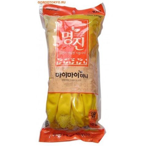 "MyungJin ""RUBBER GLOVE MYMY MINI"" Перчатки латексные хозяйственные, 10 пар, размер L."