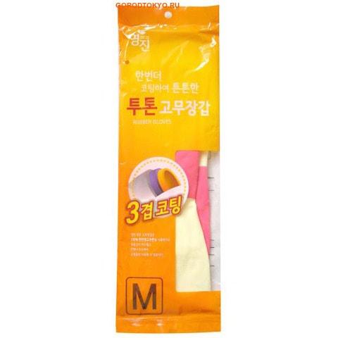 "MyungJin ""RUBBER GLOVE TWO TONE"" Перчатки латексные хозяйственные двухцветные, размер M."