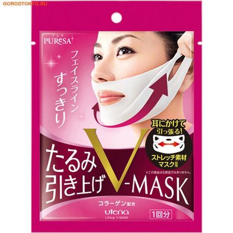 """UTENA """"Puresa V-Mask"""" Косметическая коллагеновая подтягивающая маска для зоны подбородка и носогубных складок, 1 шт."""