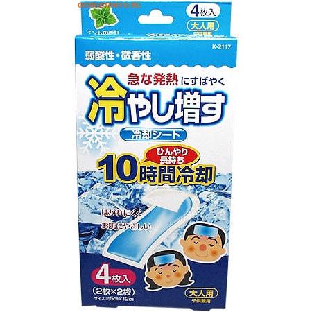 KOKUBO Салфетки-пластыри охлаждающие гелевые при температуре и головной боли, аромат мяты, 4 шт. от GorodTokyo