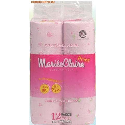 """IDESHIGYO Туалетная бумага двухслойная """"MARIEE CLAIRE"""", розовая с принтом, 27.5 м, 12 рулонов."""